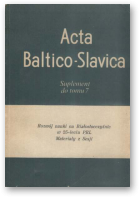 Acta Baltico-Slavica, Suplement do tomu 7